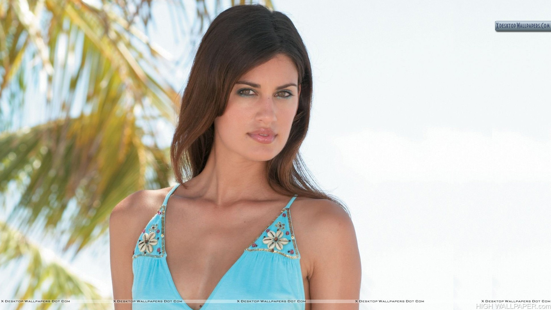 Yamila Diaz In Blue Dress Near Beach