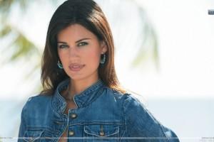 Yamila Diaz Wearing A Blue Denim Jacket