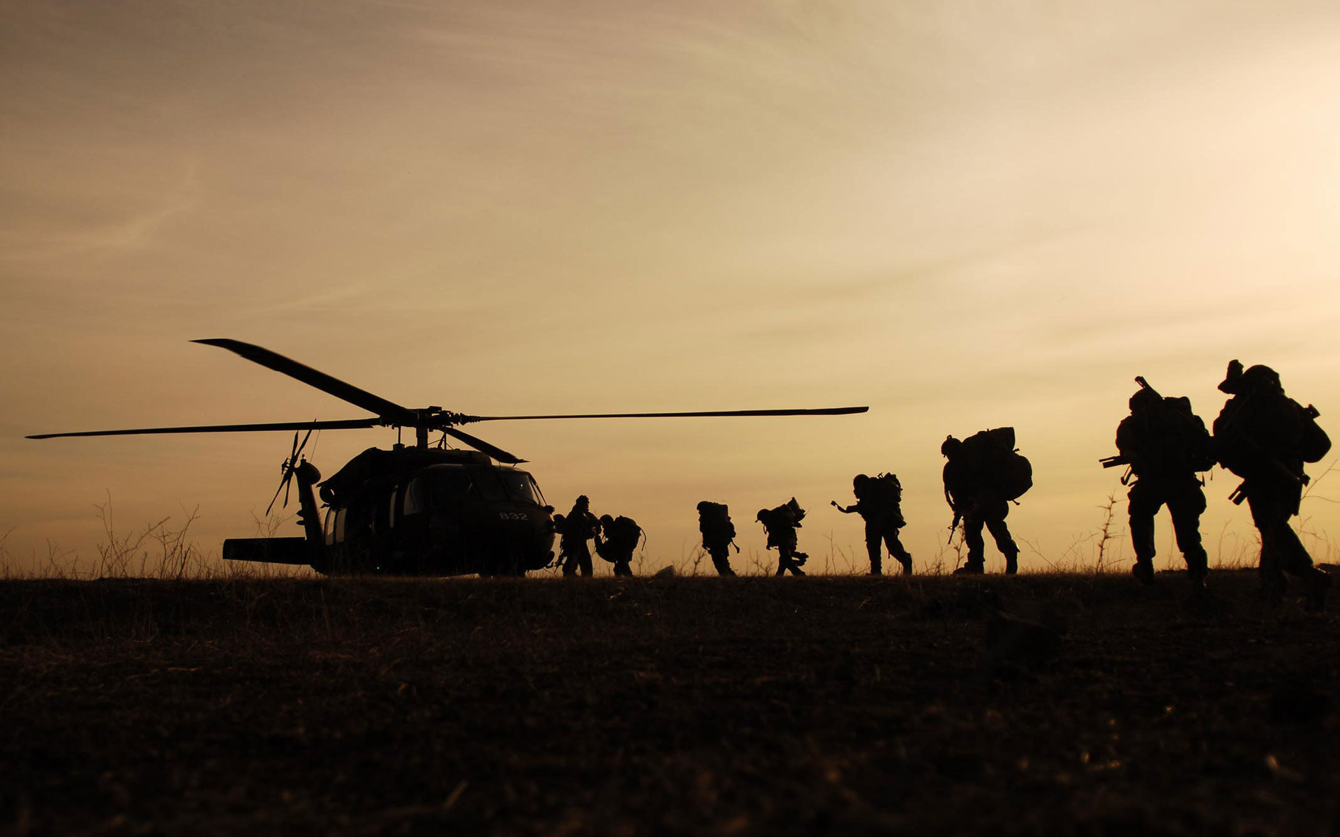 Soldiers Helicopter and Evening
